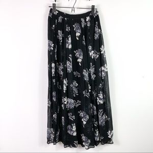 NWT Free People || Long Black Floral Skirt
